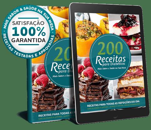 Ebook e Tablet com a Capa do Ebook 200 Receitas para Diabéticos e Com o alerta de satisfação garantida