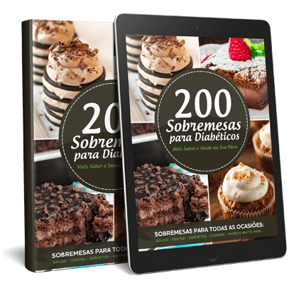 Capa e Tablet com a capa do Ebook 200 Receitas para Diabéticos