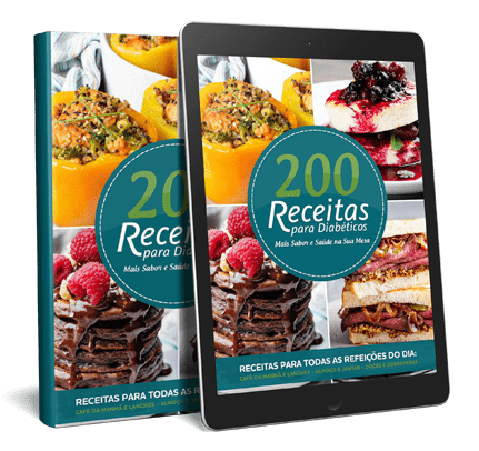Ebook e Tablet com a Capa do Ebook 200 Receitas para Diabéticos