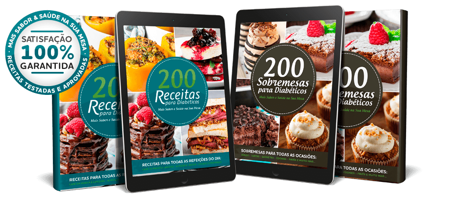 2 Capas e 2 Tablets do Ebook 200 Receitas para Diabéticos