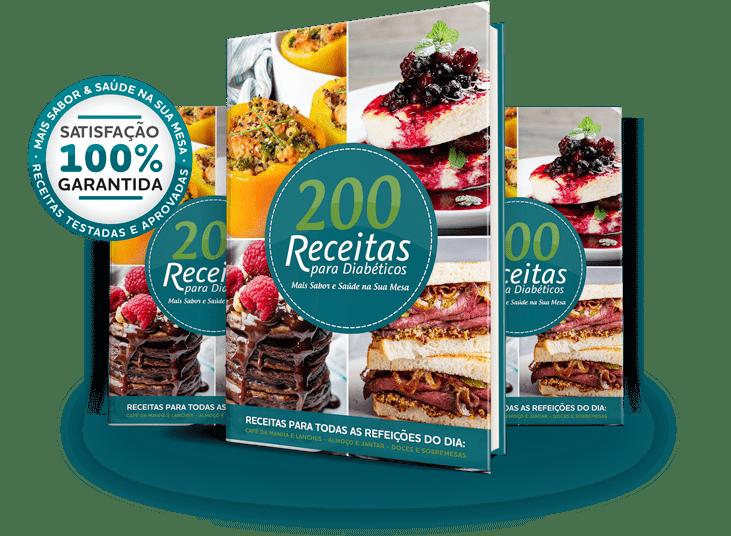 Capas do Ebook 200 Receitas para Diabéticos - Com alerta de compra com garantia de satisfação