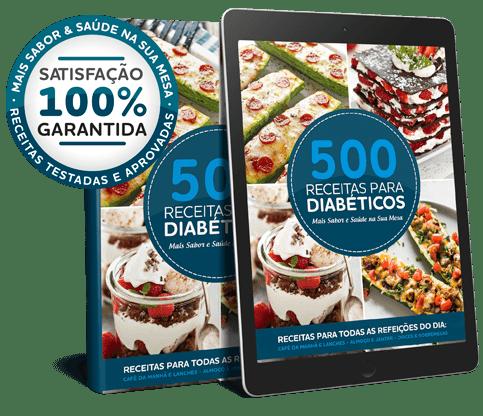 Ebook + Tablet com a Capa do Livro Digital 500 Receitas para Diabéticos